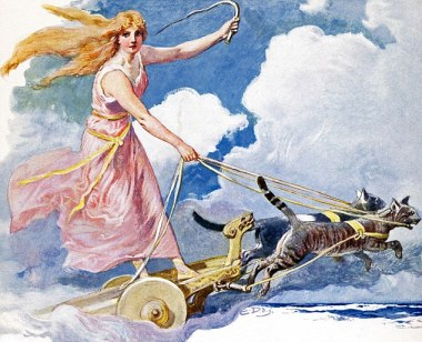 In Norse myth, Freya, also spelled Freyja and Freyia, was the goddess of fertility, love and marriage, and light and peace.
